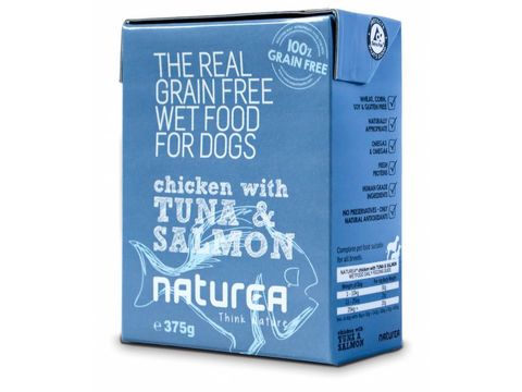 Naturea GF Dog Chicken & Tuna & Salmon konzerva 375g
