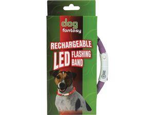 Obojek DOG FANTASY světelný USB fialový 70 cm 1ks