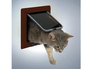 Trixie Freecat DeLuxe průchozí dvířka kočka plast 4P hnědá 1ks